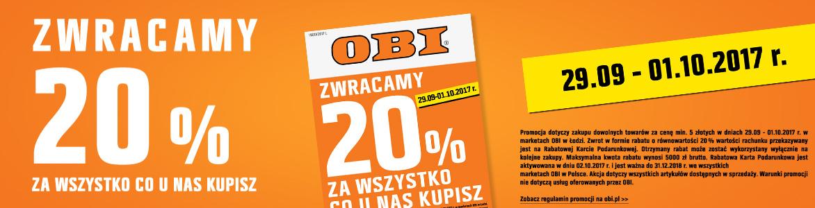 Zwrot 20% za wszystko obi (Łódź)