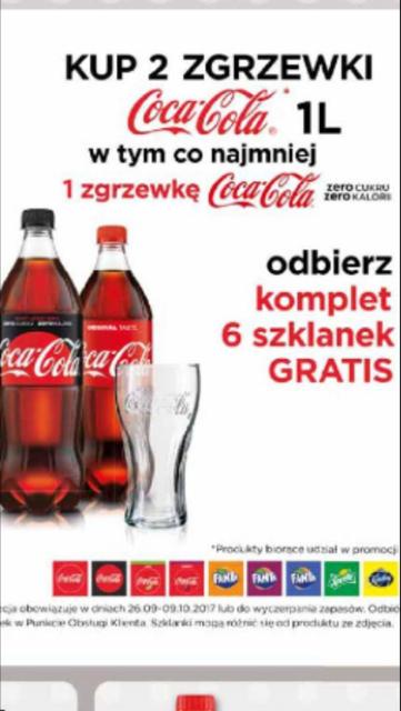 Komplet 6 szklanek przy zakupie 2 zgrzewek napojów marki Coca-Coli @ Selgros