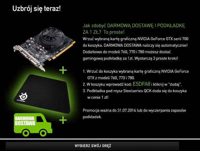 Kup kartę graficzną Nvidia GTX 760, 770 lub 780 a podkładkę pod mysz Steelseries QCK kupisz za 1zł a grę Watch Dogs dostaniesz gratis @ AGITO