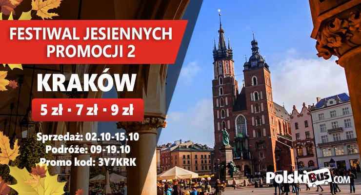 PolskiBus za 5, 7 lub 9zł z Krakowa,Poznania,Gdańska,Katowic,Wrocławia,Łodzi na krajowe podróże od 9-19października