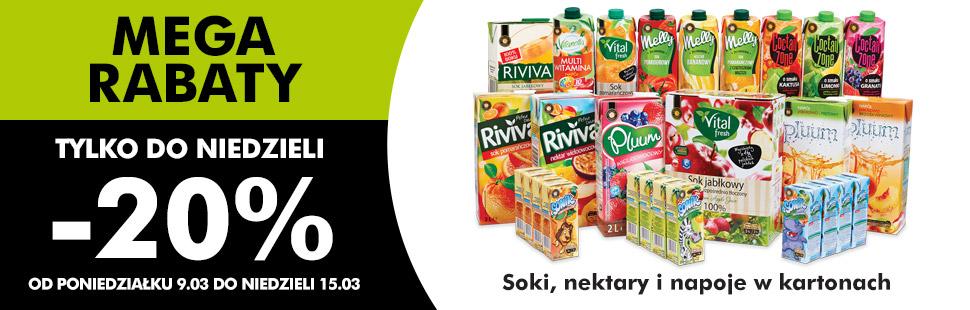 MEGA RABATY -20% zniżki na soki i nektary @ Biedronka