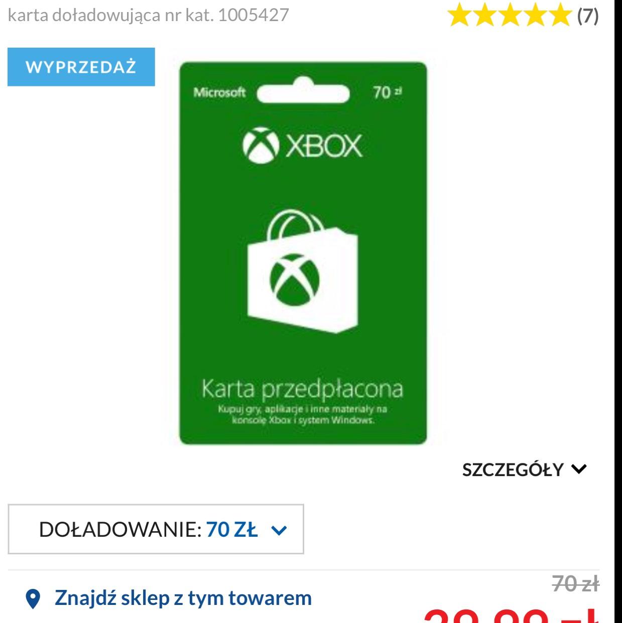 Doładowanie do Xbox lub sklepu microsoft 70 zł za 39,99  EURO RTV AGD