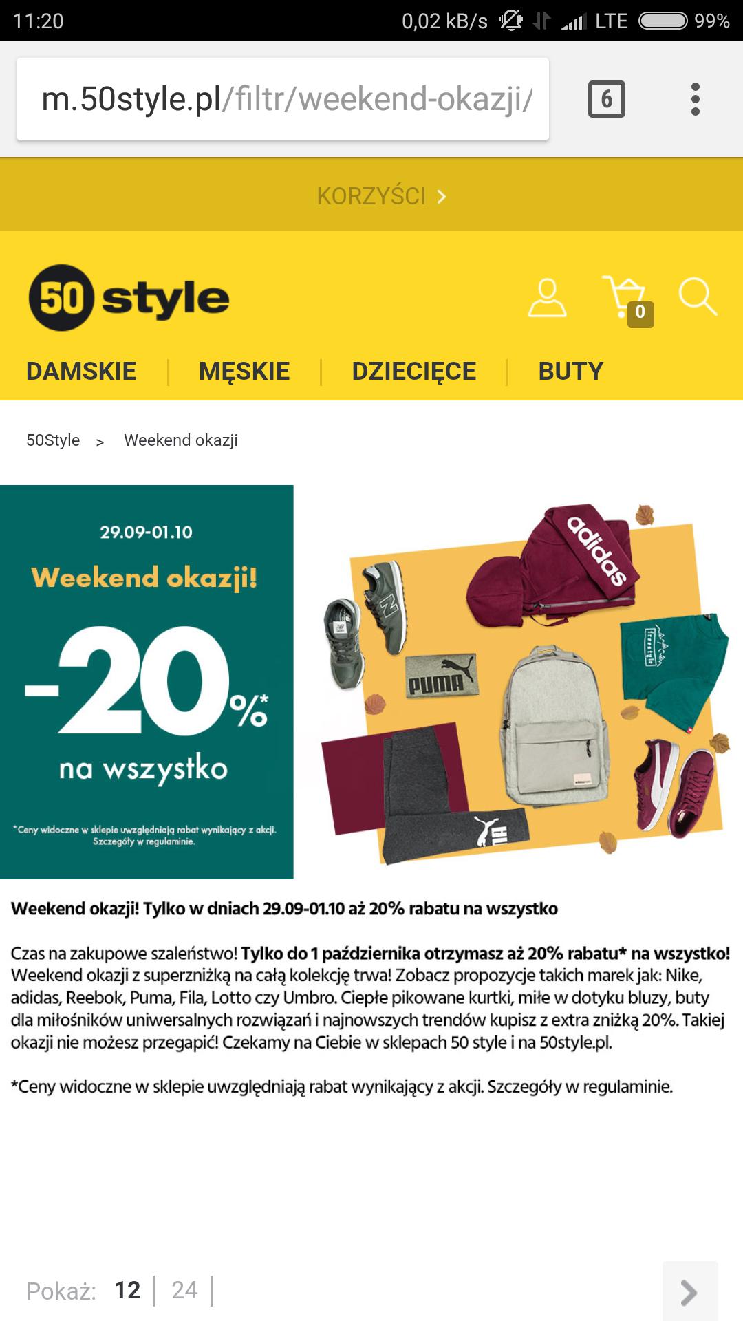 -20% w sklepach stacjonarnych oraz przez internet - 50Style