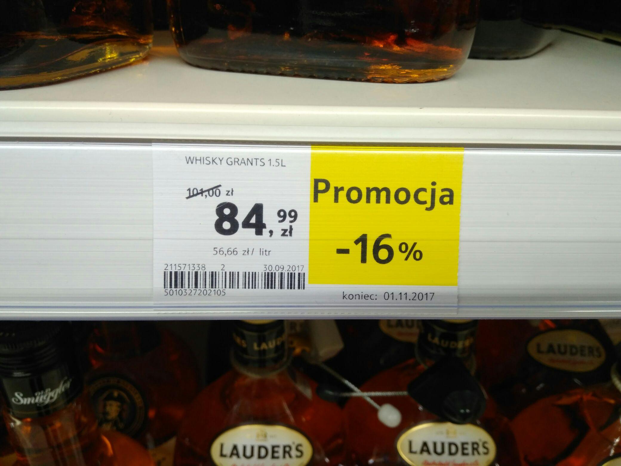 Whisky Grant's 1.5 L (-16%) - Tesco