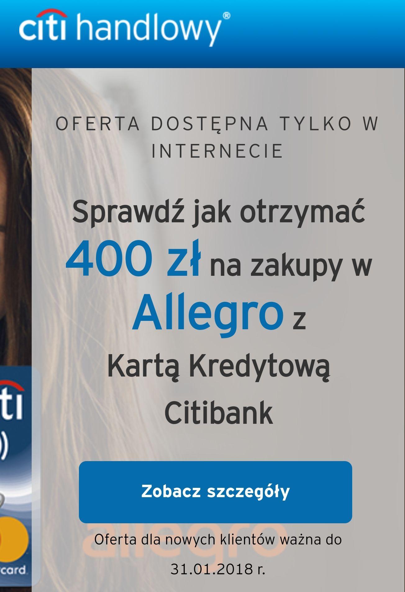 Voucher 400zł za założenie karty do wykorzystania na Allegro.pl