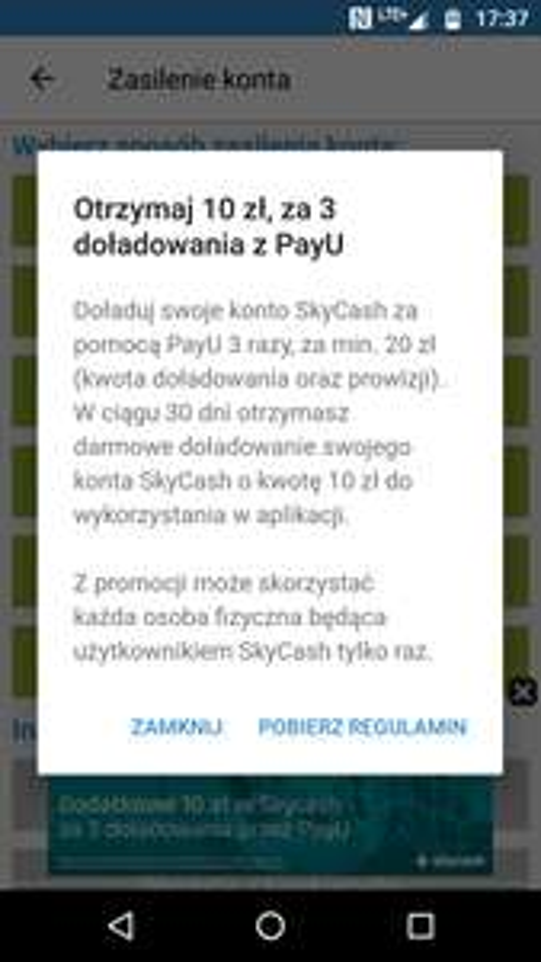 SkyCash - 10 zł za 3 doładowania