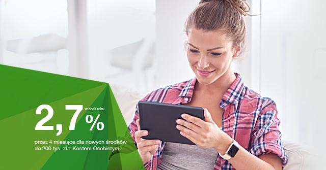 Getin Bank 2,7% na koncie oszczędnościowym (do 200 000 zl) dla nowych środków