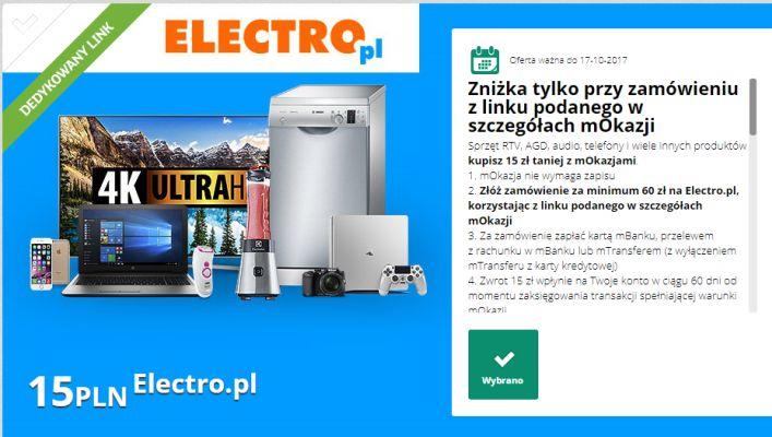 mOkazja - 15 zł zwrotu za zakupy w electro.pl @mBank.