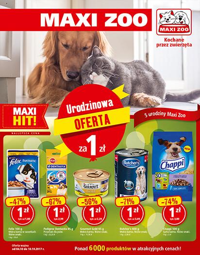 Urodzinowa Promocja MAXI ZOO - produkty za 1/5/10zł itp.