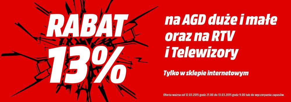 Rabat 13% na produkty AGD i RTV! na www.mediamarkt.pl