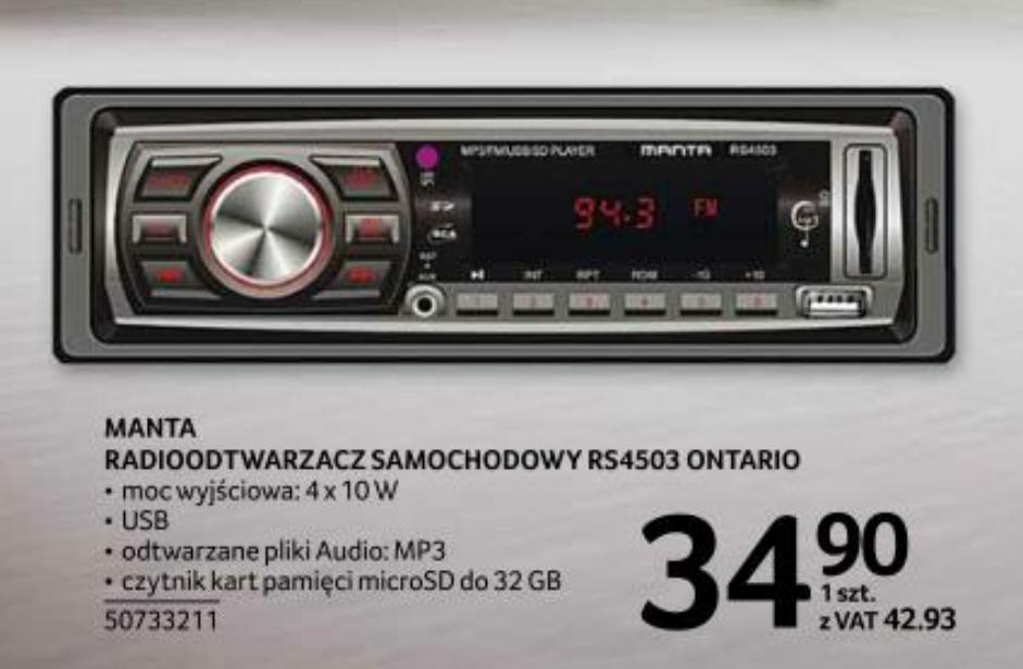 Radio samochodowe Manta RS4503 Ontario Selgros