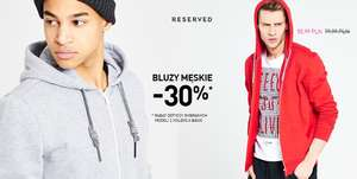 30% rabatu na bluzy męskie @ Reserved