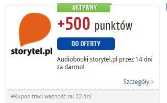 +500 punktów payback za zapisanie się na okres próbny w storytel.