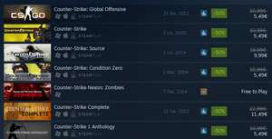 gry z serii Counter Strike (GO, Source, Complete, Anthology) -50% taniej @Steam