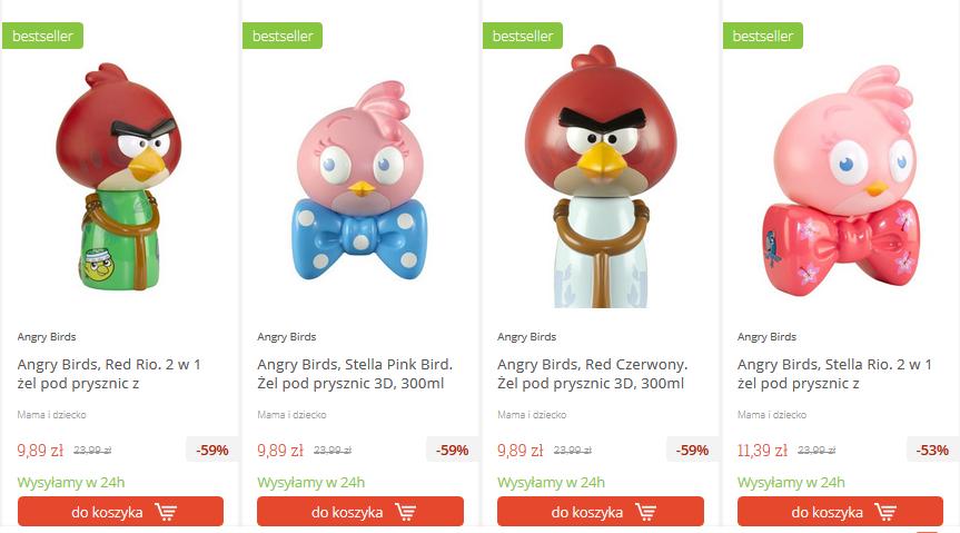 Żel pod prysznic Angry Birds za 2,49zł (-90%) @ Merlin