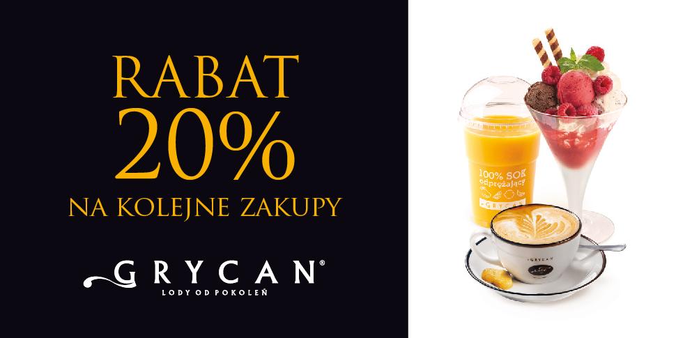 20% rabatu przy kolejnym zakupie (MWZ 20zł) @ Grycan