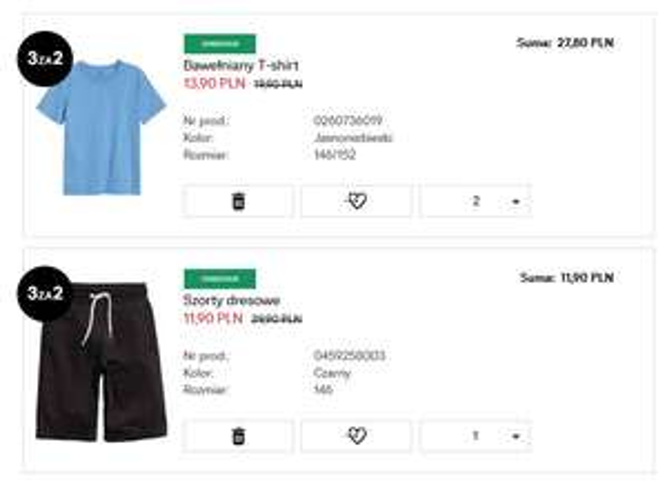 Dziecięcy t-shirt za 13,90zł oraz szorty za 11,90zł (+ promocja 3 za 2) @ H&M