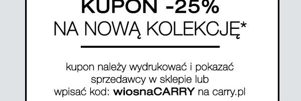 Kupon rabatowy -25% za zapisanie się do newslettera @Carry
