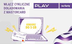 Dodatkowe GB w Play za cykliczne doładowania kartą MasterCard