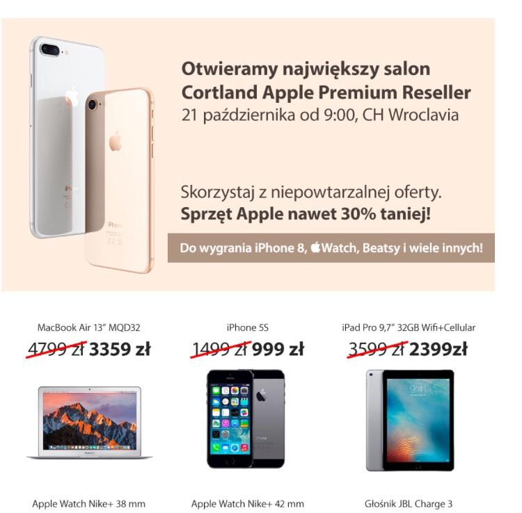 Otwarcie salonu Cortland (Apple) we Wrocławiu. Zniżki na sprzęt 30% np. Apple Watch Nike+ 42mm za 1299