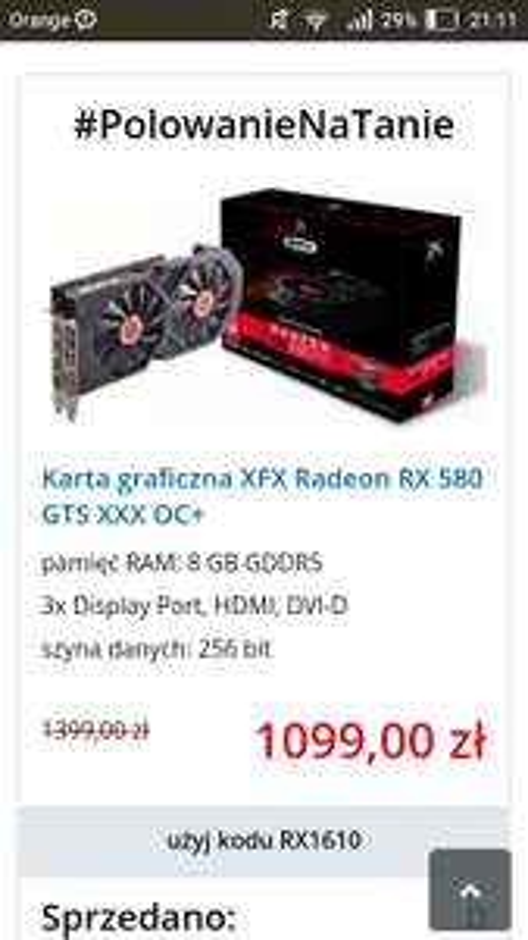 Karta graficzna XFX Radeon RX 580 GTS XXX OC+