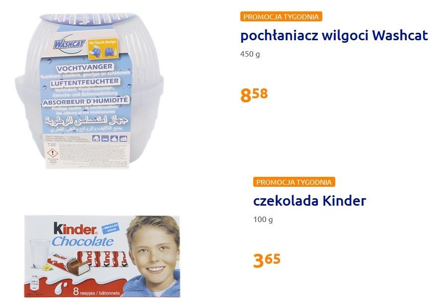 Action:czekolada kinder 3,65zł (8szt-100g),pochłaniacz wilgoci 8,58zł (450g) (Leszno)