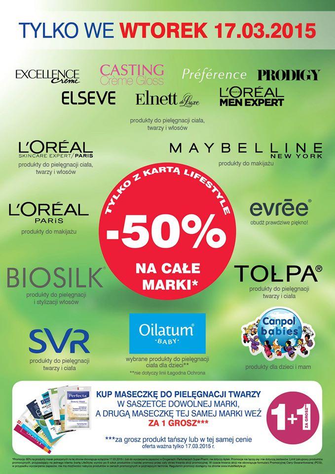 -50% na wybrane marki i kategorie produktów (min. Tołpa, L'Oreal, Garnier, Fructis, La Roche i inne) @Super-Pharm