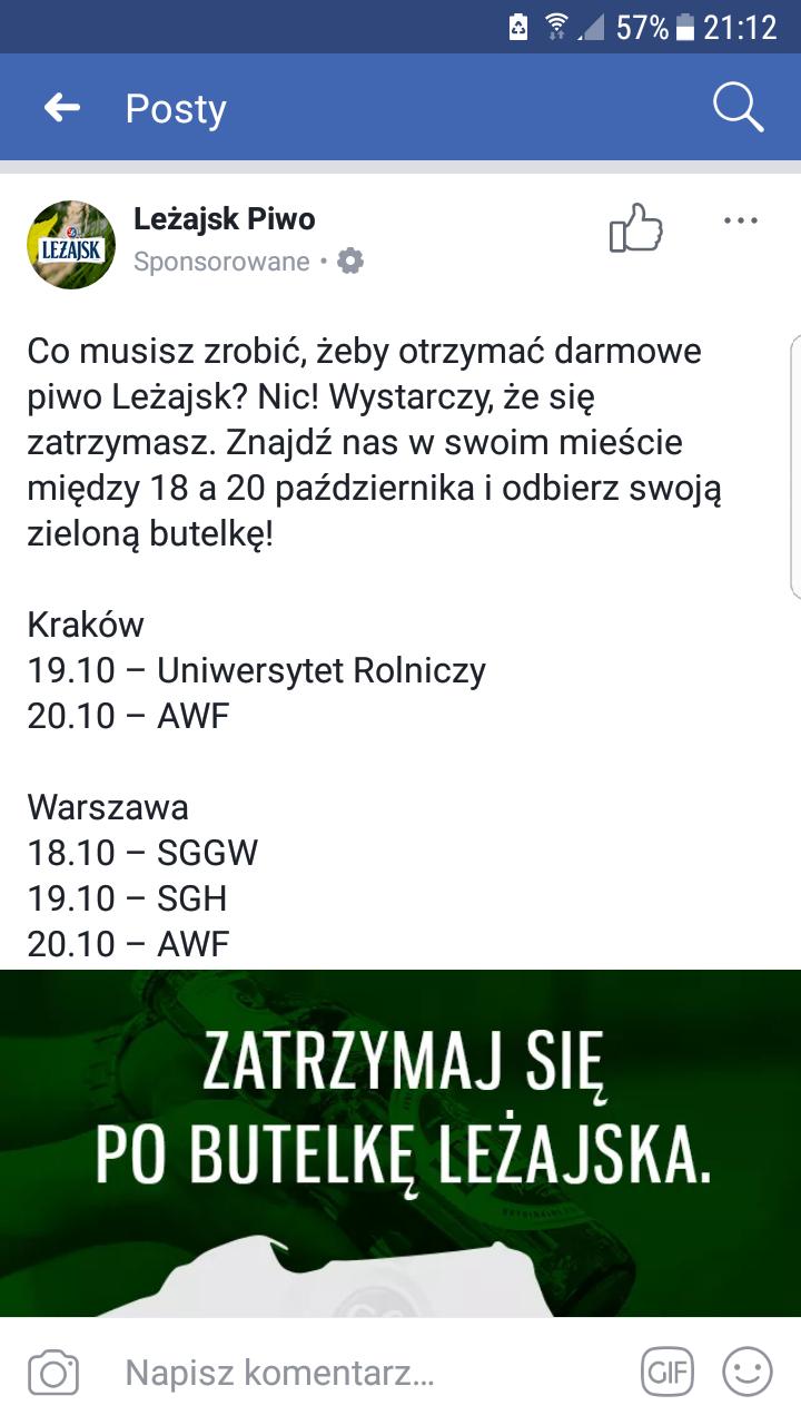 Piwo Leżajsk  za Free Warszawa i Kraków