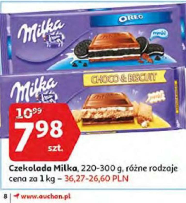 Duża czekolada MILKA za 7.98 Auchan do 30.10.