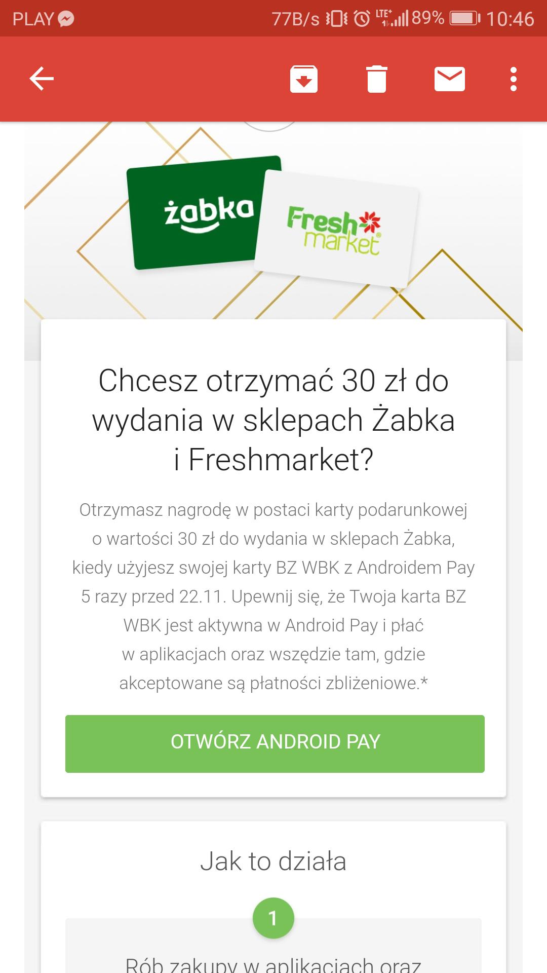 30 zł do żabki za 5 płatności kartą bzwbk w android pay
