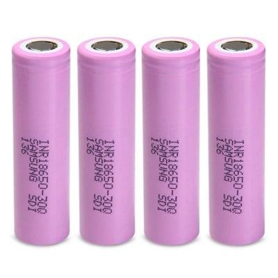 INR18650 - 30Q 18650 3000mAh 3.7V Lithium-ion Battery  -  4PCS PINK