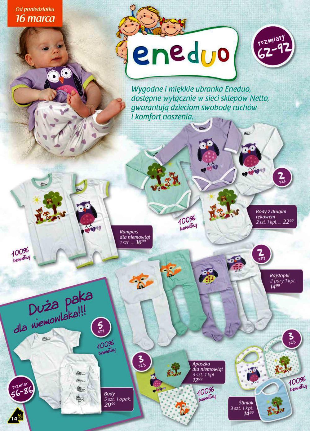 Ubranka niemowlęce w niskich cenach @ Netto