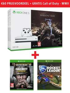 Xbox One S White 500GB + Middle Earth - Shadow of War + Rocket League + Call of Duty - WWII