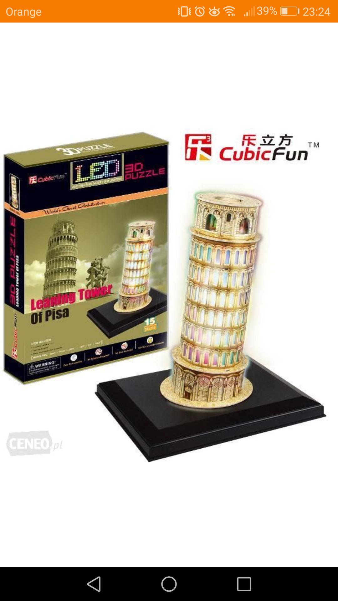 Krzywa Wieża w Pizie LED. Puzzle 3D