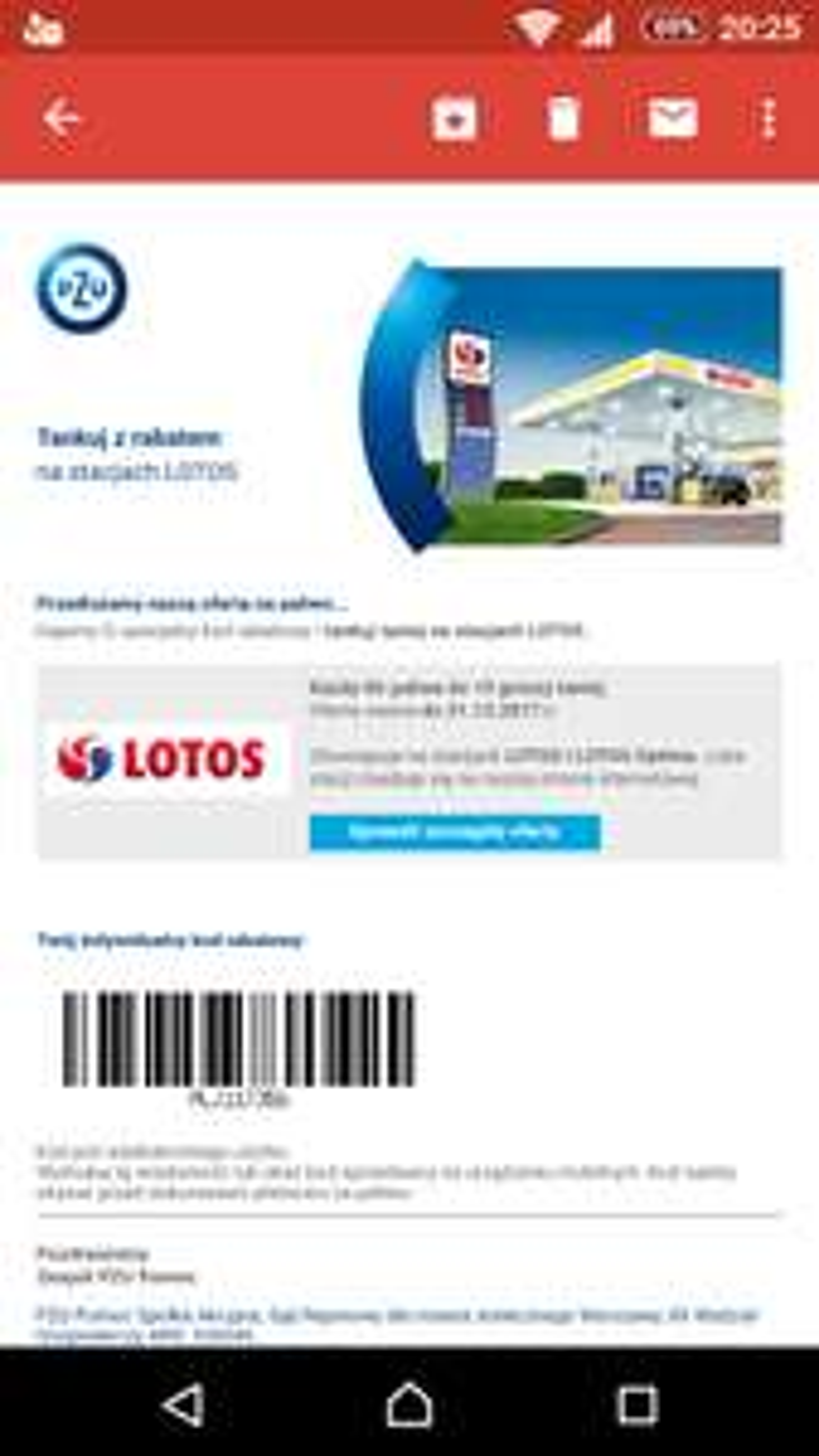 -10 gr/l paliwa oraz 5 gr LPG Lotos - kod z PZU