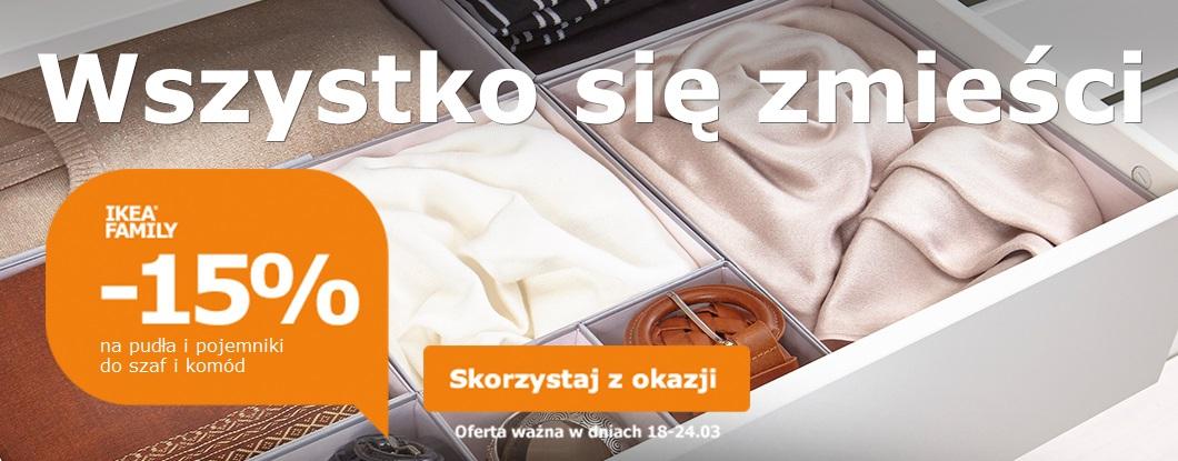 Rabat 15% na pudełka i pojemniki do szaf/komód @ Ikea