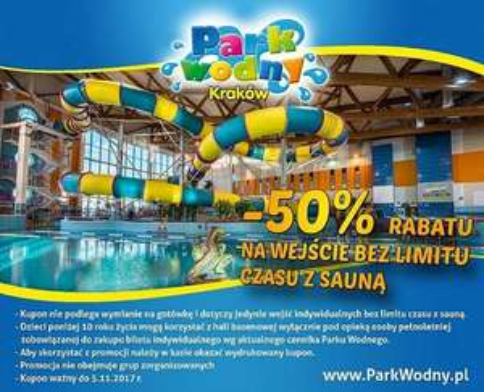 50% Rabatu na Wejście bez limitu czasu z sauną - Park Wodny @ Kraków