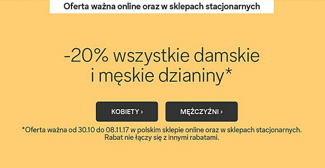 -20% na damskie i męskie dzianiny (stacjonarnie i online) @ C&A