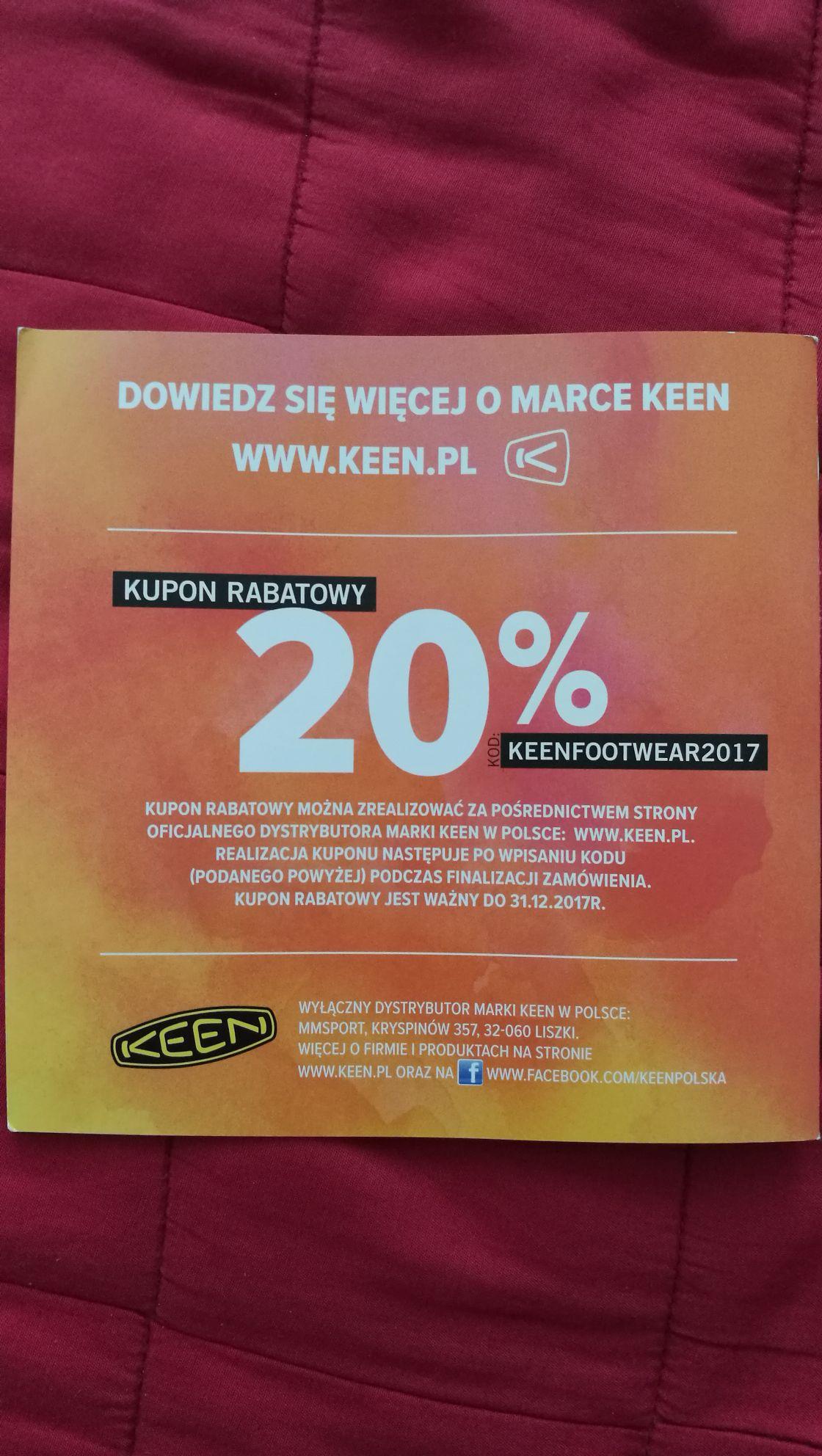 Zniżka -20% na wszystkie buty marki Keen