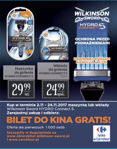 [Od 2.11] Bilet do kina gratis przy zakupie maszynki lub wkładów Wilkinson @ Carrefour