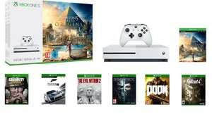 Xbox One S 500GB Assassins Creed Origins Bundle + Dishonored 2 + Doom + Fallout 4 + Call of Duty: WWII or Fifa 18 or Destiny 2