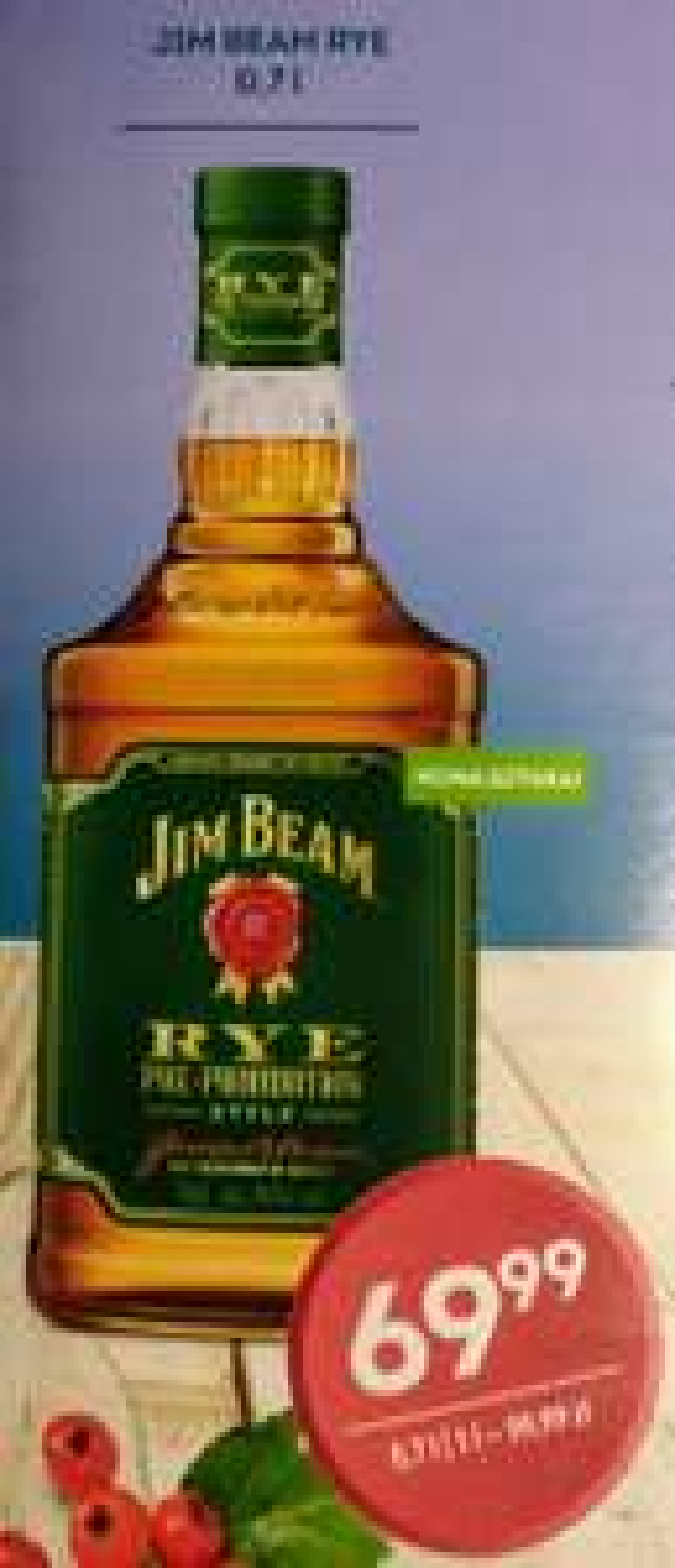 Jim Beam Rye Pre-Prohibition Style 40% 0,7 l