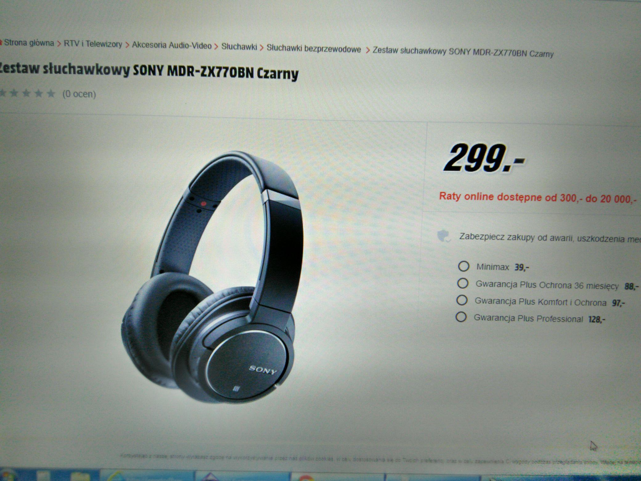 Słuchawki Sony MDR-ZX770 (czarne) z NC