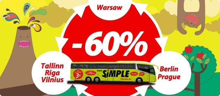 Kod na -60% na przejazdy autokarami Simple Express (Praga, Berlin, Wilno, Ryga, Tallin) od 24zł @