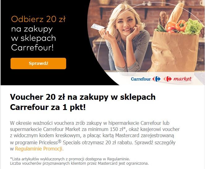 Voucher 20 zł na zakupy w Carrefour za 1 pkt. Priceless® Specials