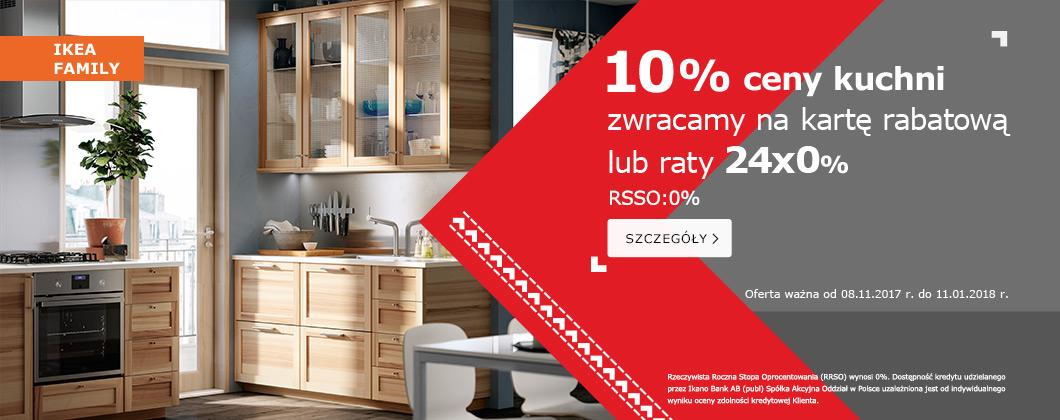 10% zwrotu na kartę rabatową (kuchnie i sofy) lub 24 raty 0% @ Ikea