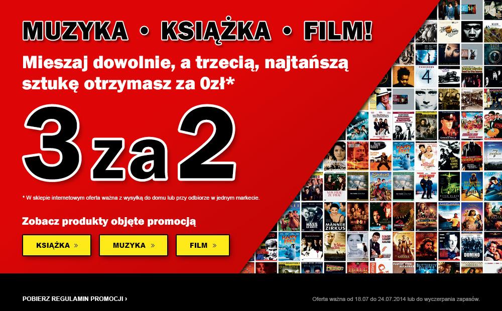 3 za 2  dowolne produkty z kategorii: Muzyka, Książka, Film @ MediaMarkt