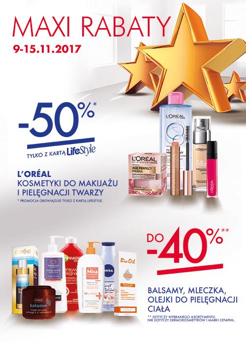 -50% na kosmetyki do makijażu i pielęgnacji twarzy marki Loreal @ Super-Pharm