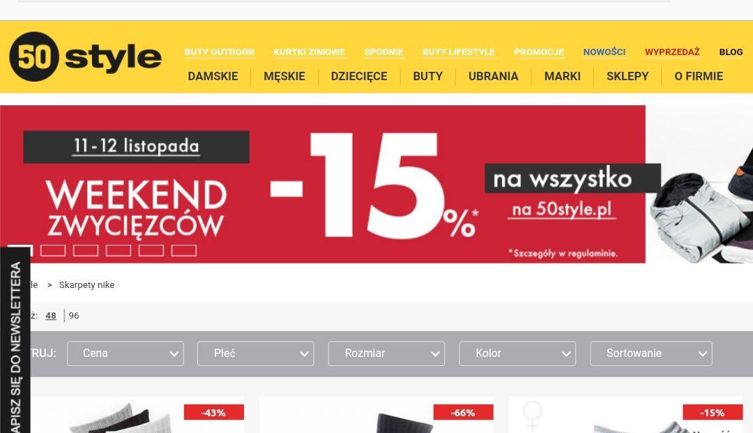 -15% na cały asortyment 11-12.11 @ 50style.pl