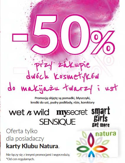 -50% przy zakupie dwóch kosmetyków do makijażu (wybrane marki) @ Natura